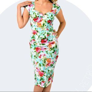 Stop Staring Watercolor Floral Dress, XS